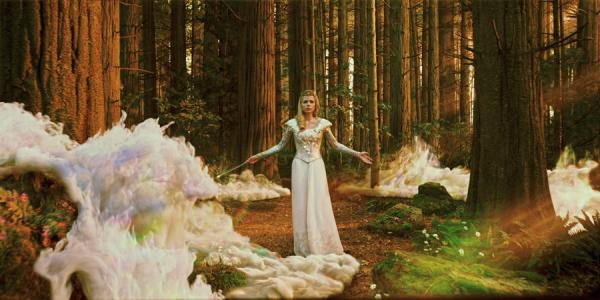 Wow factor: Glinda (Michelle Williams), the Good Witch, invokes her powers in