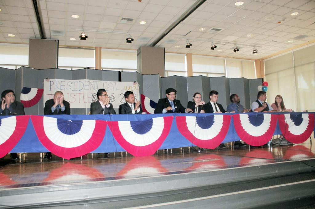 The+trustee+and+presidential+candidates+took+turns+answering+questions+and+giving+rebuttals.+Voting+takes+place+on+April+10+and+11.+