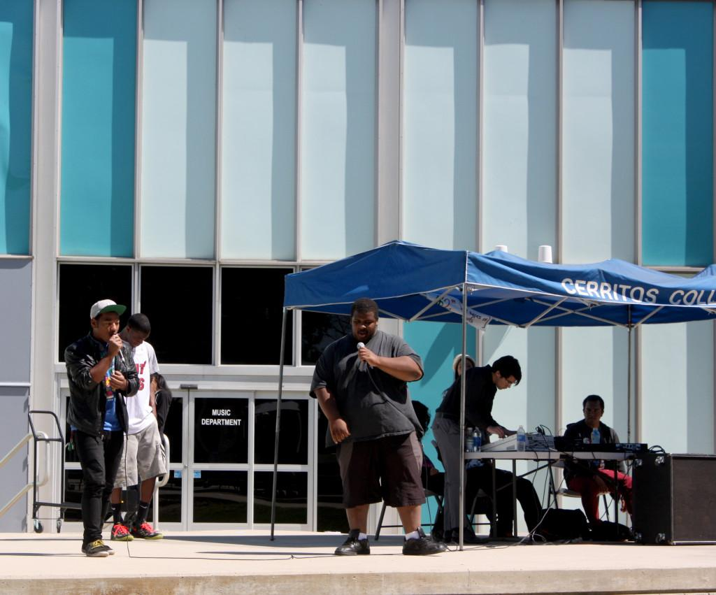The Radio Club raised awareness for their club on the Falcon Square stage on Tuesday morning by holding rap battles and student DJ performances.  Damon Springer(left), Orion Murray(middle, white shirt), and