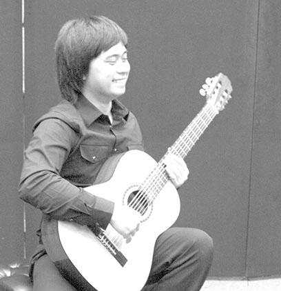 Music Major John Eric Santamaria during a Guitar Master class on May 7th at the music department