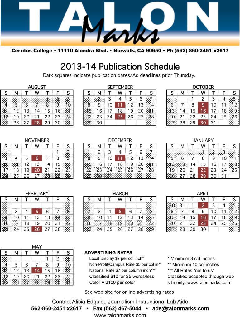 13-14 TM Pub Schedule.xls