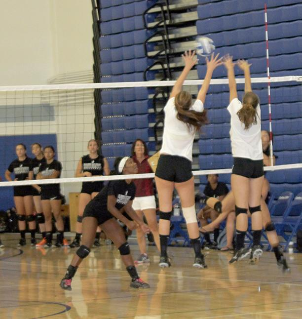 Volleyball+players+caught+in+mid+air%2C+working+together+to+save+the+ball+from+getting+out+of+bounds.+Teamwork+at+its+best.