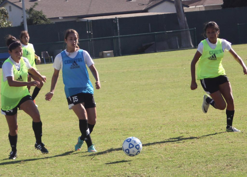 Sophomore Lyanna Farran pursues the ball during practice.