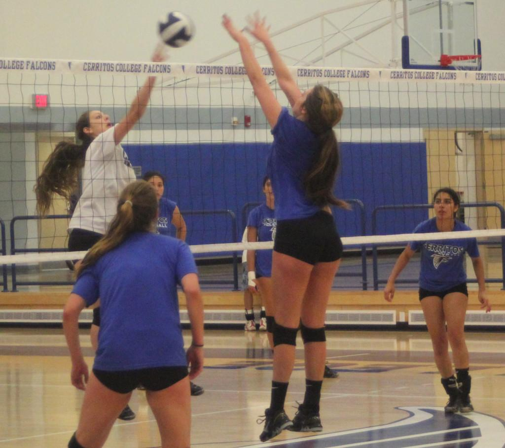 Sophomore+Chelsea+James+gets+into+position+to+pounce+the+ball+back+into+the+opposing+offense+during+practice.