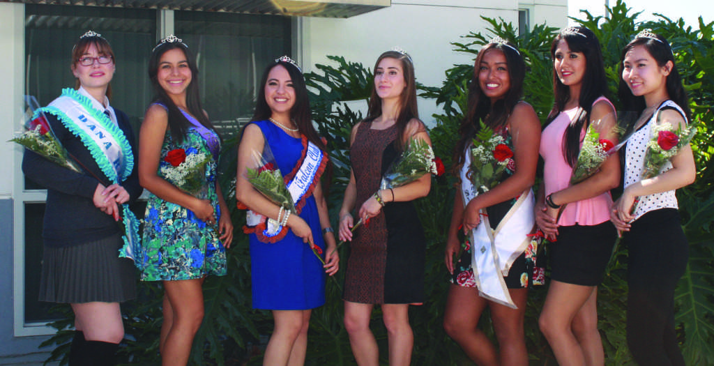 Seven of the eight members of the Homecoming Court