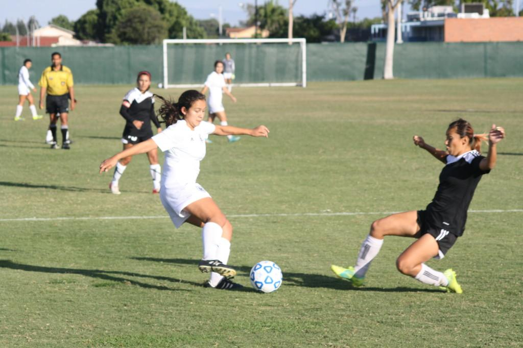 Sophomore midfielder April Juarez led the attack against ECC Compton Center in a 17-0 win.Photo credit: Sebastian Echeverry.