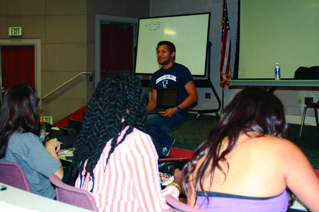 The Order of the Falcon president Aldemar Sanchez discusses the club's upcoming plans at its meeting on Oct. 7.