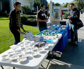 Edgar Soto speaks to Perris Edwards, and Adrian Gomez about the Active Minds bake sale.