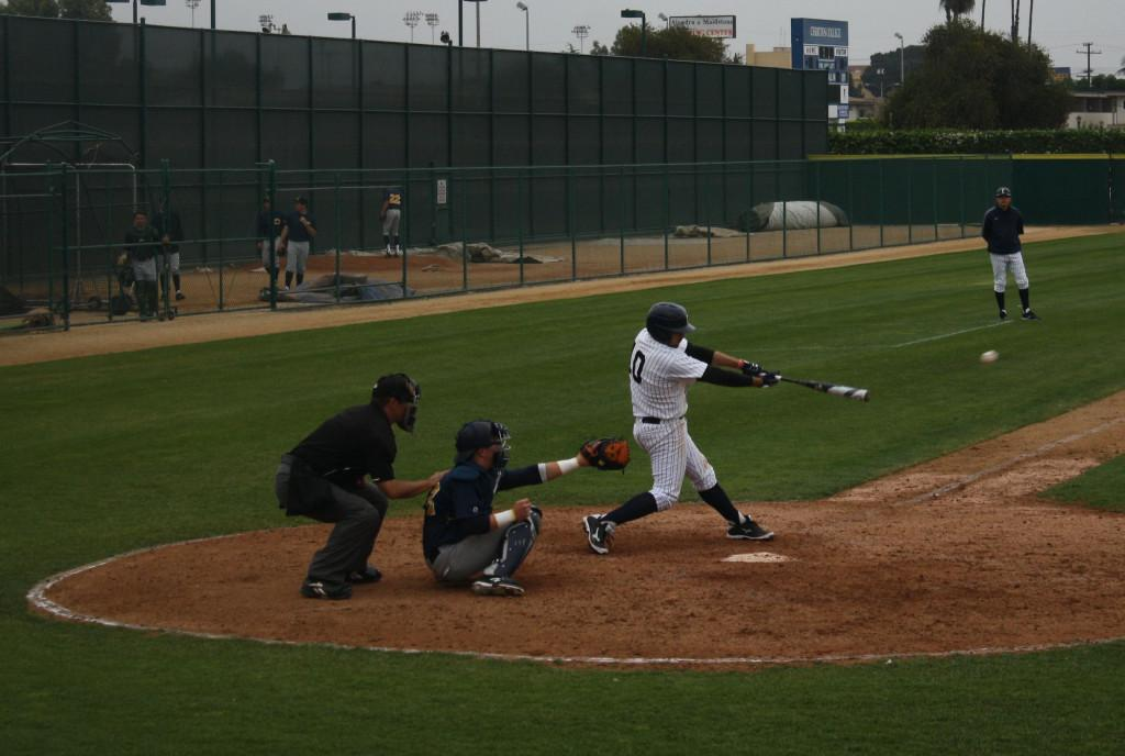 The tight win against College of the Canyons Thursday proved difficult batting wise for the Falcons, sopomore infielder, Jose Ramero, makes contact with the ball and prepares to run to first.Photo credit: Daniel Linares