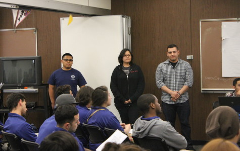 (As shown from left to right) Richard Borjas, Maritza Olmos and Juan David Camerena anxiously wait as the ASCC senate members cast votes on their approval to be assistant executive members.Photo credit: Larissa Morales