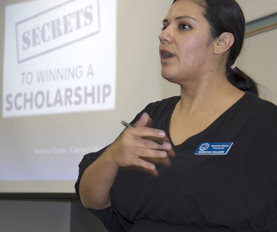 Prior to the Feb. 24. deadline to apply for scholarship awards, Veronica Castro, scholarship coordinator from the Financial Aid Office, spoke to students and gave a presentation on how to develop a winning strategy to successfully help finance their future educational goals.Photo credit: Joe Zermeno