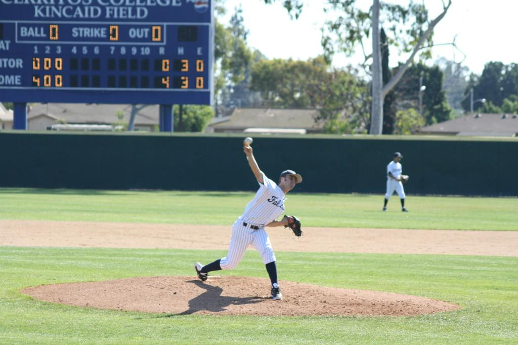 Falcons pitcher Dylan Algra delivers a pitch during the host Falcons 4-0 shutout win over the Citrus Owls on Saturday February 1st, 2014Photo credit: Mario Jimenez