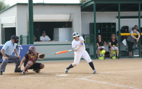 Falcons first basemen Haley Whitney connects on one of her two singles on March 11 against the Lancers. Photo credit: Mario Jimenez
