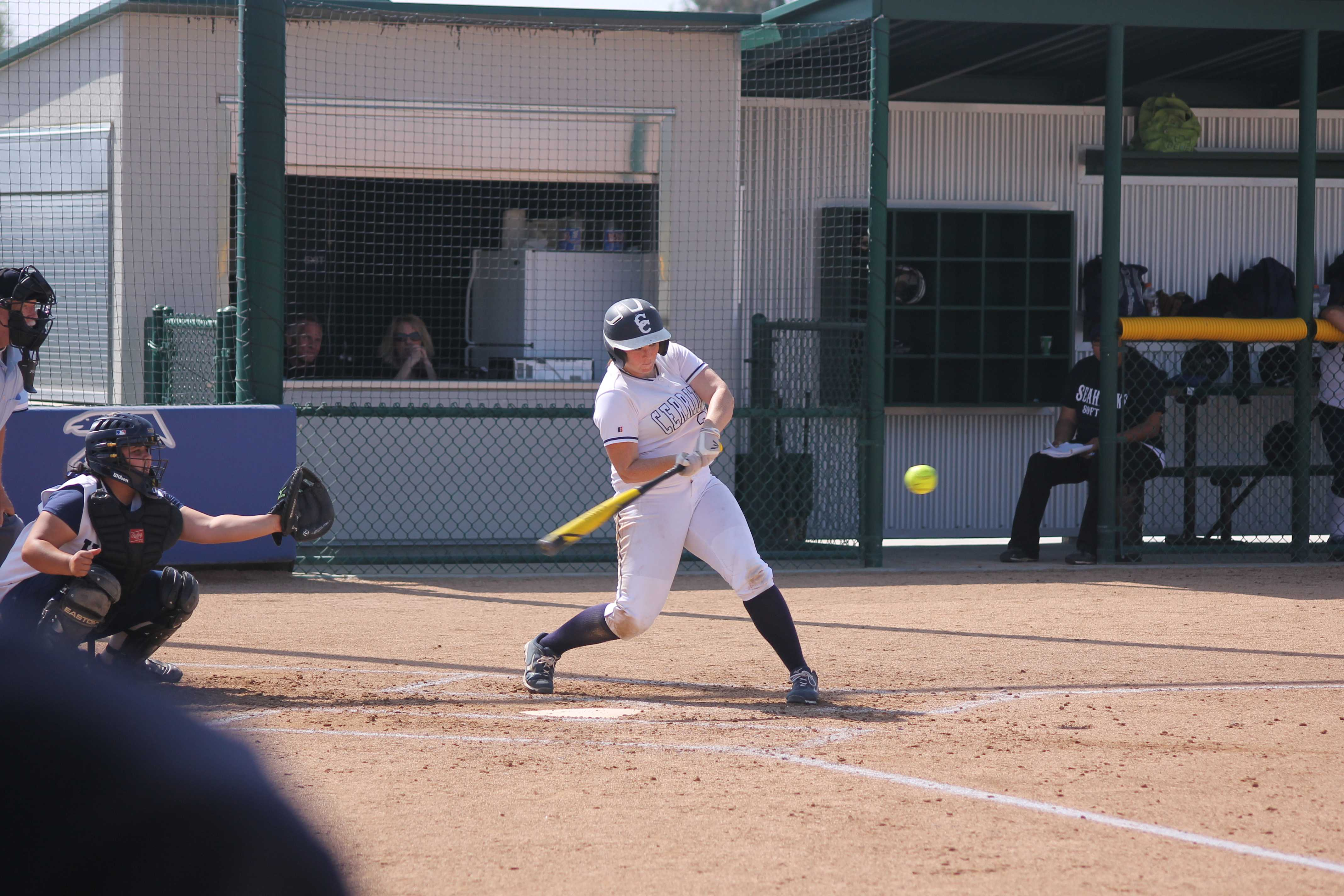 Falcons first basemen Haley Whitney connects on an RBI double on April 22. Photo credit: Mario Jimenez
