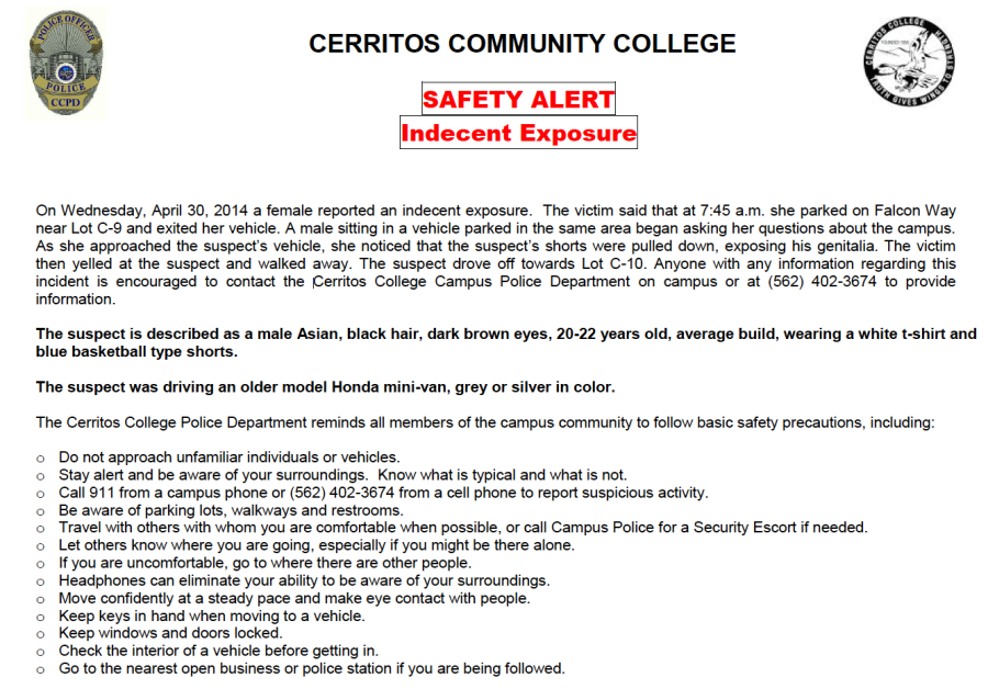 A campus safety alert for indecent exposure has been issued today via emergency text.