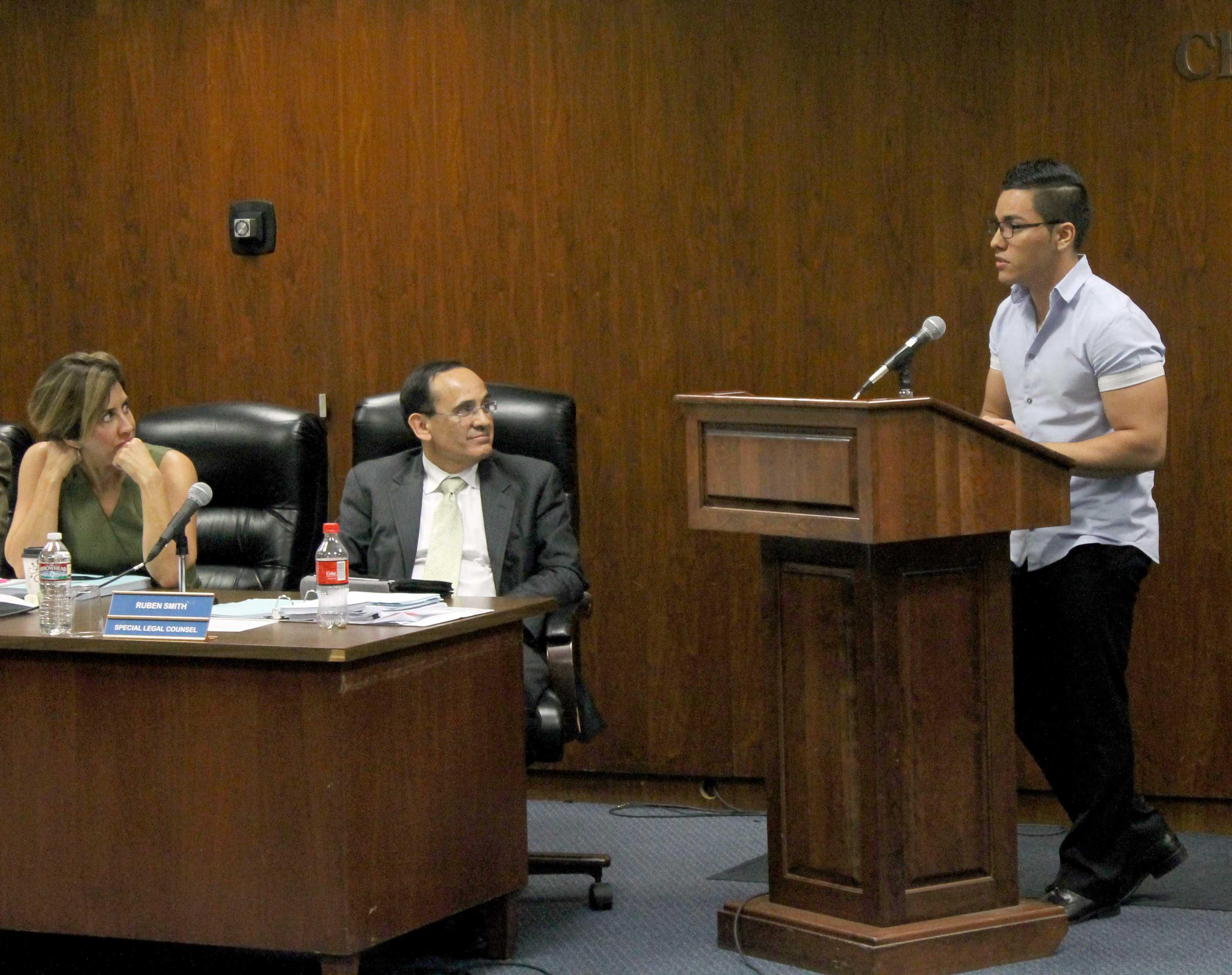 ASCC President Juan Ramirez presents methods of getting new vendors on campus to the board of trustees. Photo credit: Gustavo Olguin