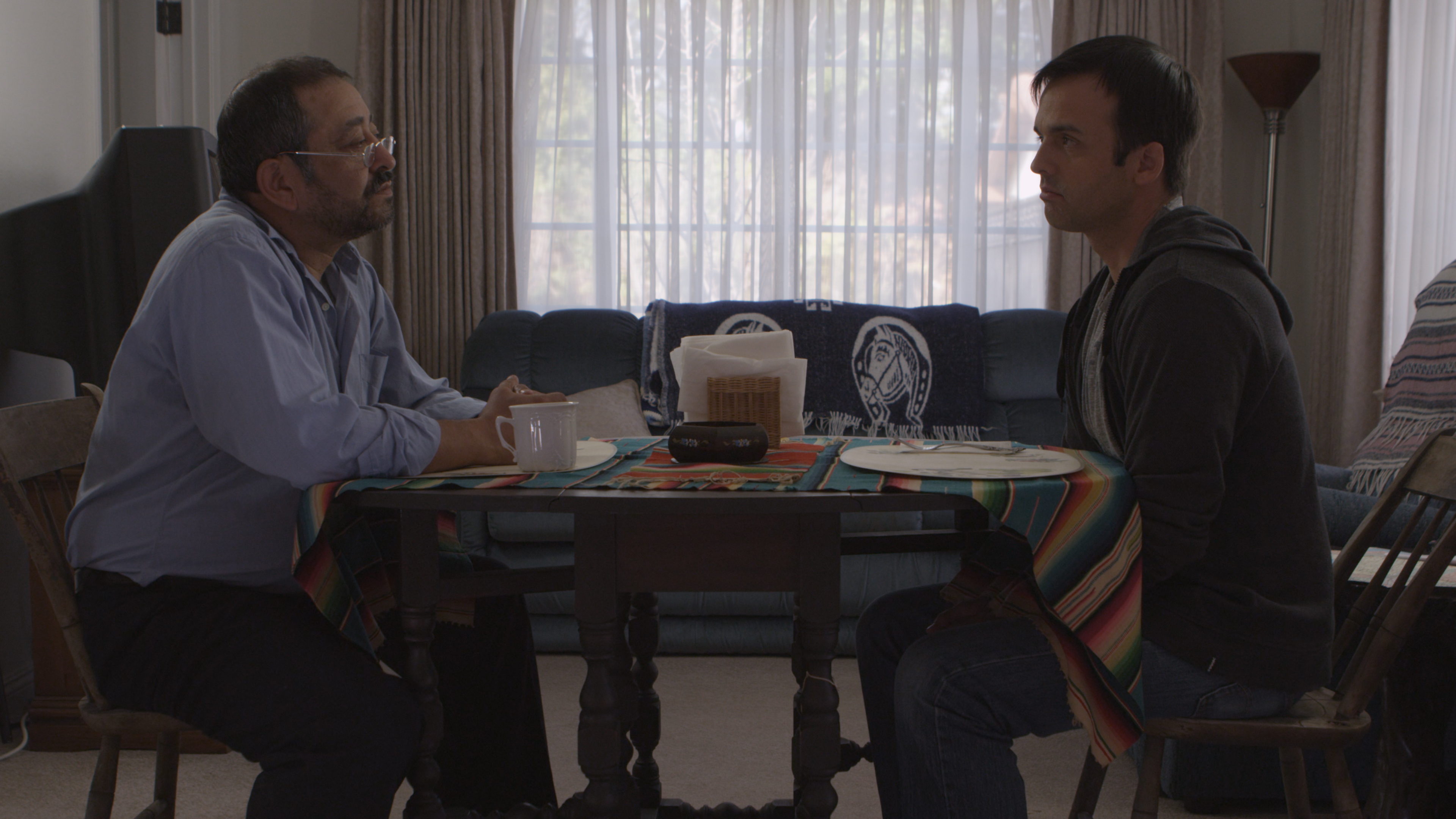 Alejandro Patino (left) and Forrest Hartl (right) in a scene from their short film