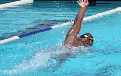 Marlon Moreno has qualified for the California Community College Athletic Association Championships.  His time of 54.00 seconds on the 100 meter backstroke placed him 14 out of 16. Photo credit: Gustavo Olguin