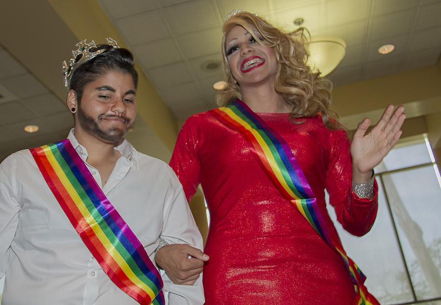 Diamond  Bracamontes, Queer Straight Alliance (QSA), and Eric Banuelos, Chicanos/Latinos for Community Medicine (CCM), have been awarded the second Drag King and Drag Queen titles for the Fall 2014 Cerritos College on the May 1 event in the Student Center. Photo credit: Joe Zermeno