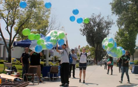 Active minds release balloons to help symbolically release stress that students are going through.  Students wrote whatever that has been stressing them out on the balloon