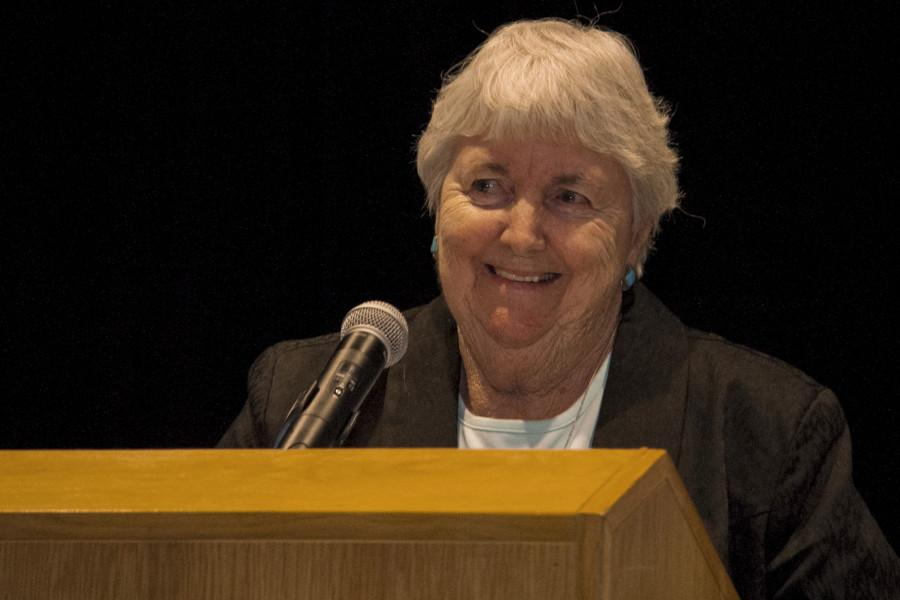 Coach Nancy Kelly gave a speech during the Hall of Fame induction ceremony.