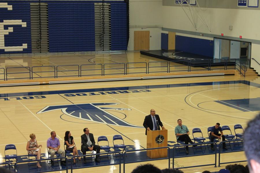 Dean of Student Activities, Dr. Gilbert Contreras, speak to the athletes as he was part of the assembly.