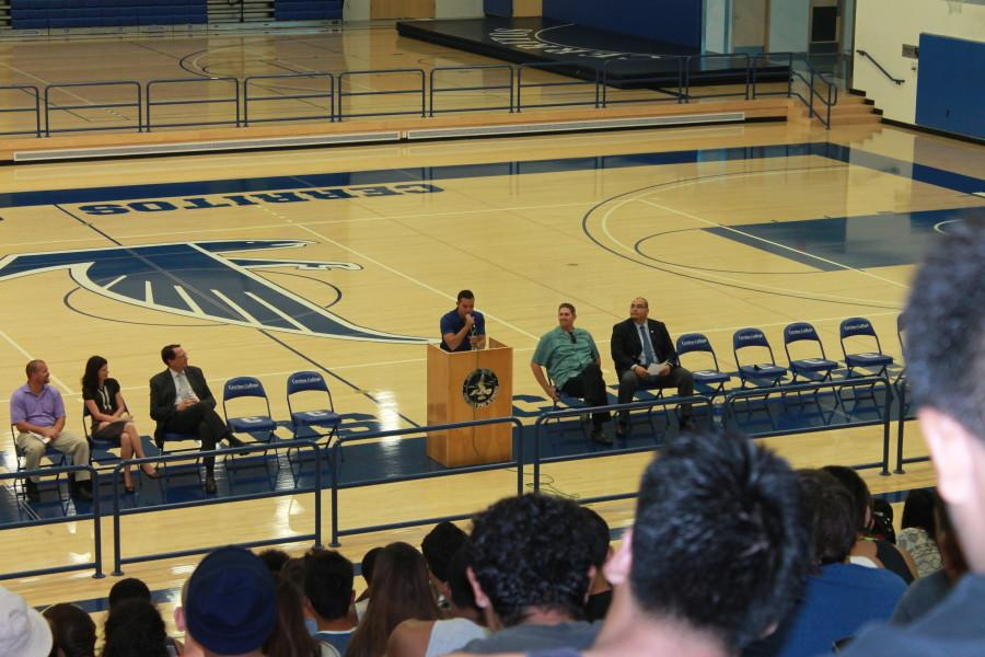 ASCC President, Miles Aiello, adresses and motivates the athletes during the Annual Athletic Assembly.