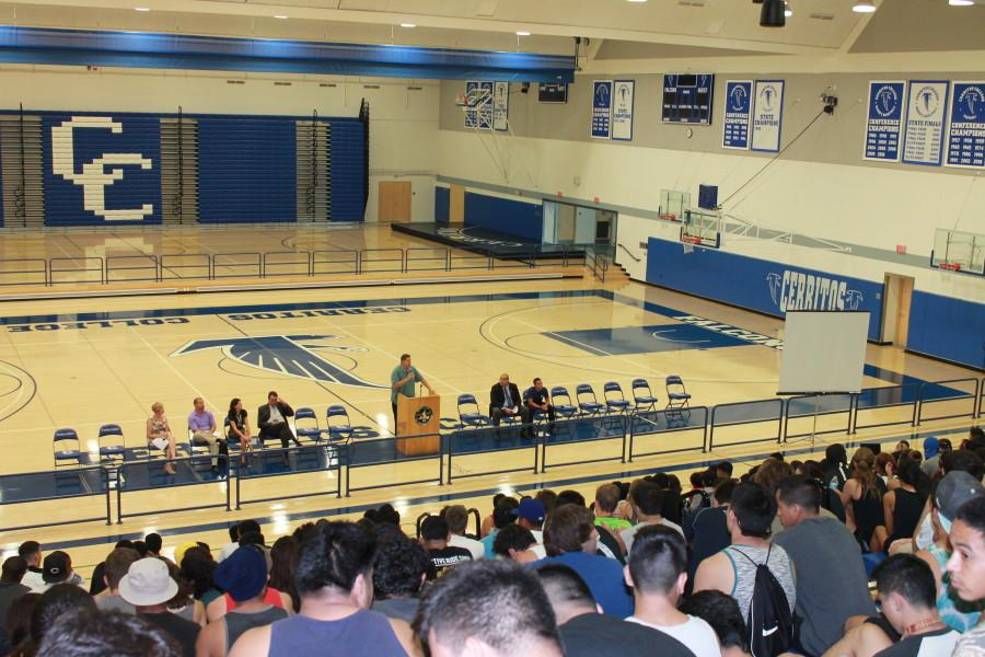 Dan Clause, Athletic Director of Cerritos, addresses the athletes of important issues for the new year.