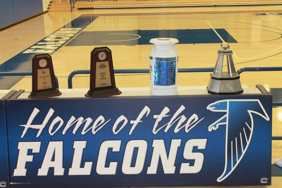 Few of the Falcons trophies were on display during the Annual Athletic Assembly.