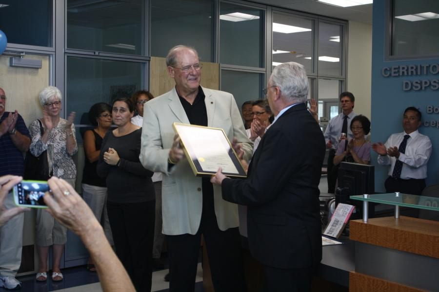 Dr. Bob Hughlett was honored by having the DSPS office named after him. He has been with Cerritos College for roughly 30 years. Photo credit: Julien Galvan