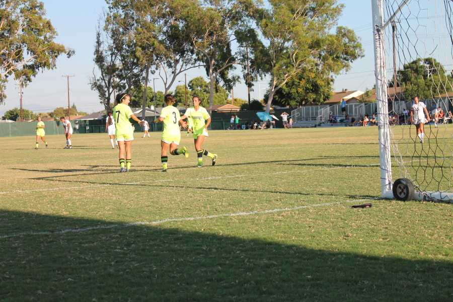Forward Ashley Anaya-Webb celebrated her brace with teammates and forwards Nayeli Requejo and Tiffany Castillo.