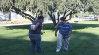 Team members practicing defense tactics.