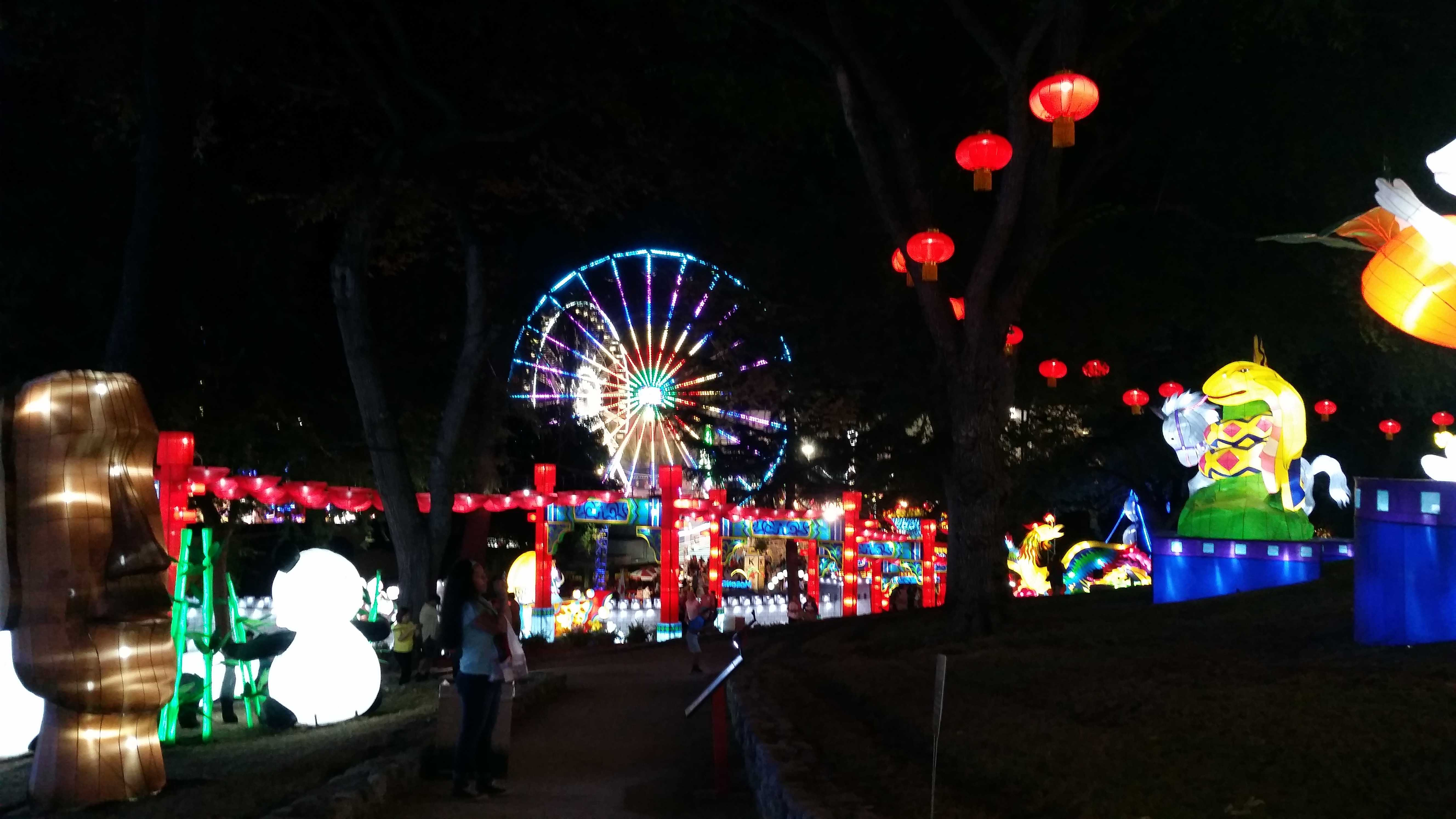 The Los Angeles County Fair lights up at night with the Chinese village lantern exhibit, 'Luminasia'. Visitors from all over Southern California come to the event to have a fun time. Photo credit: Katherine Grijalva