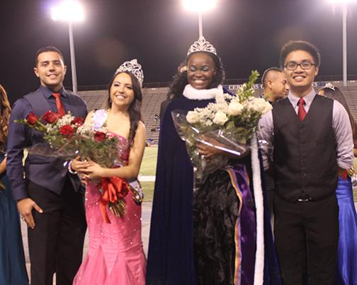 Areal Hughes was crowned Homecoming Queen on Oct. 18 during halftime of the football game. To her right is ASCC President Miles Aiello, Michelle Mancilla, the Homecoming Queen from last year; to her left is ASCC Vice President Charles Caguioa.