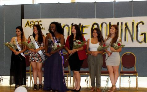 Six of the seven Homecoming Queen nominees stand together during the introduction ceremony that occurred Monday, Oct. 13. Voting for Homecoming Queen will occur this week, with the results being announced at the Homecoming game Saturday, Oct. 18 Photo credit: Carlos Holguin
