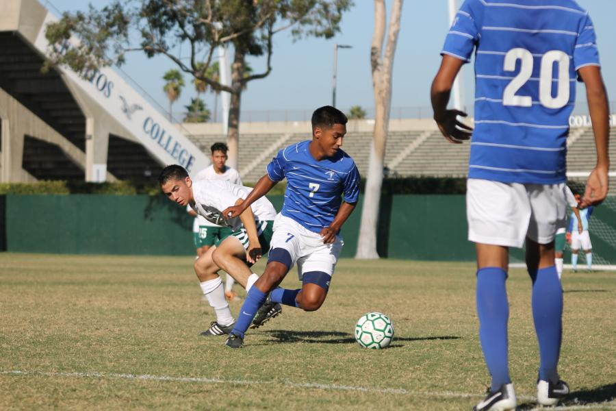 Sebastian Velazques spins past his mark and prepares to start the push into East Los Angeles College territory. Cerritos College won the first home conference game with a score of 2-1 Photo credit: Sebastian Echeverry