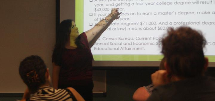 Pamela Sepulveda, a Licensed Clinical Social Worker presented a workshop on learning styles to students. She will be presenting another workshop on Oct. 30 titles