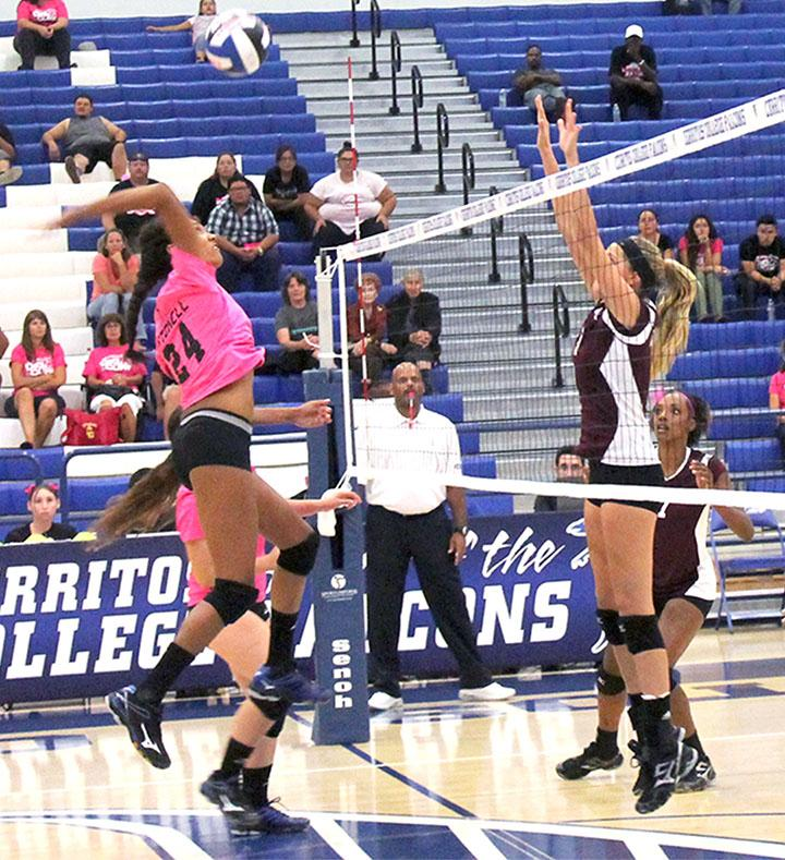 Middle Blocker Jasmin Mitchell going in to spike the ball. The Falcons would go to defeat the Mounties for the first time in five years.