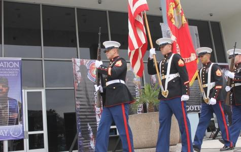 The Marine Corps Color Guard were present at the Veterans Day Ceremony Monday, Nov. 10. Guest speakers, including veterans, told stories and spoke about the emotions of serving the United States. Photo credit: Denny Cristales