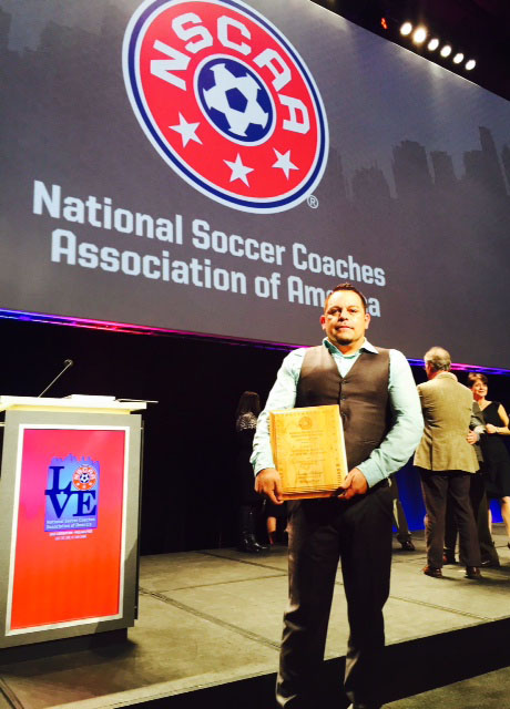 Men%27s+soccer+head+coach+Benny+Artiaga+was+awarded+National+Coach+of+the+Year+Jan.+21+in+Philadelphia+by+the+National+Soccer+Coaches+Association+of+America.