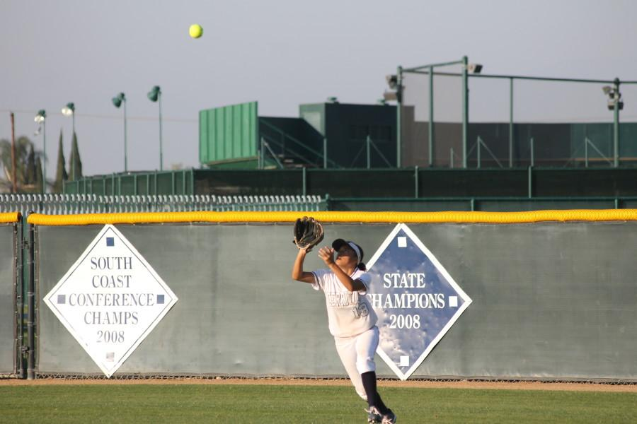 Center fielder Joanna Perruccio makes the final out of the inning. She broke the Cerritos College record for most stolen bases, 49. Photo credit: Monica Gallardo