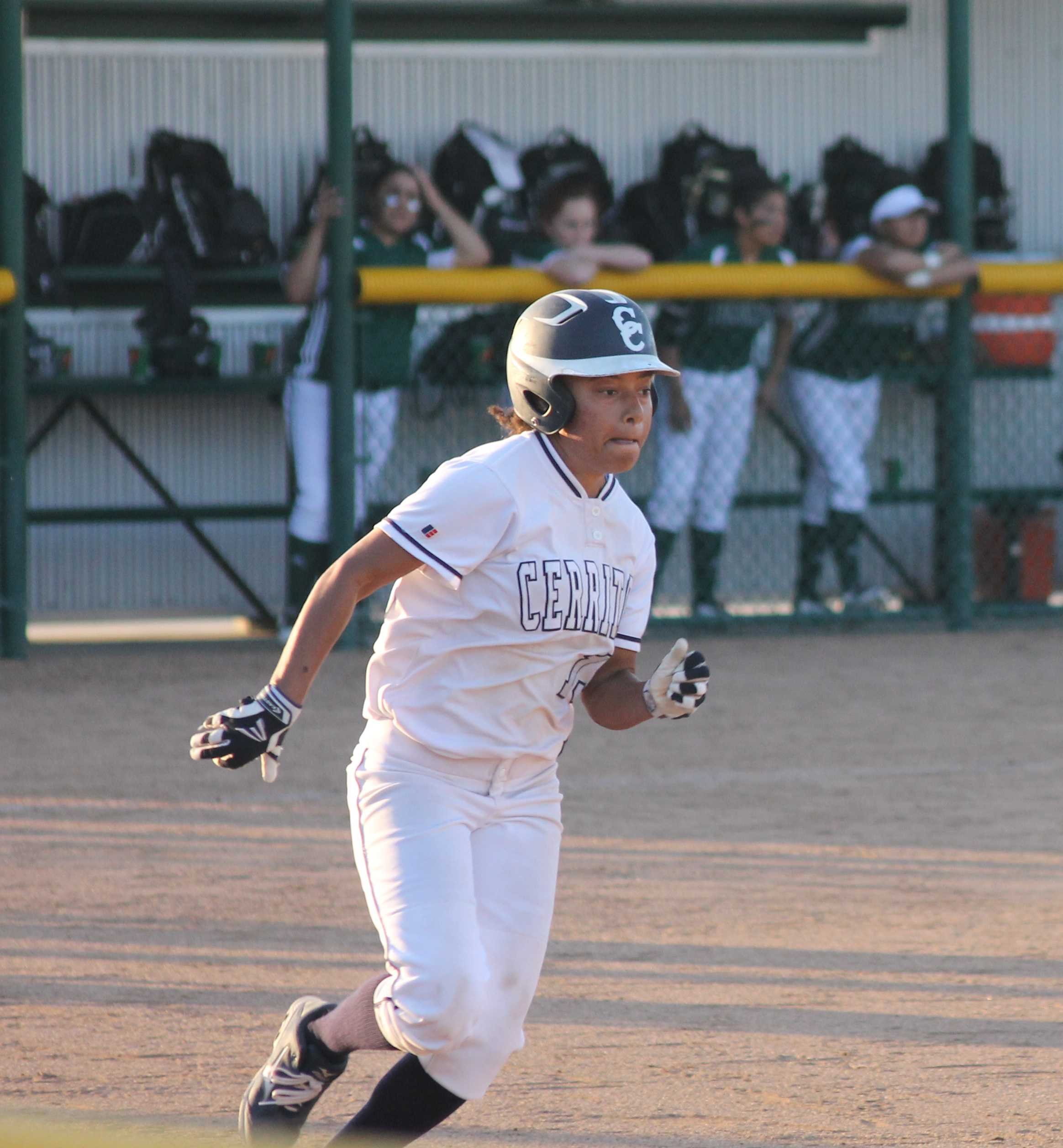 Center fielder Joanna Perruccio singled to left field against ELAC on Feb. 17 and went on to steal second. She broke the school record for most stolen bases with 49. Photo credit: Monica Gallardo
