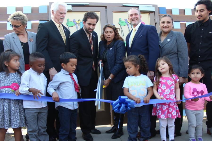 Debra Ward, Director of Child Development Center cuts the ribbon of the new center on Feb. 4, 2015 at Cerritos College. Photo credit: Karla Enriquez