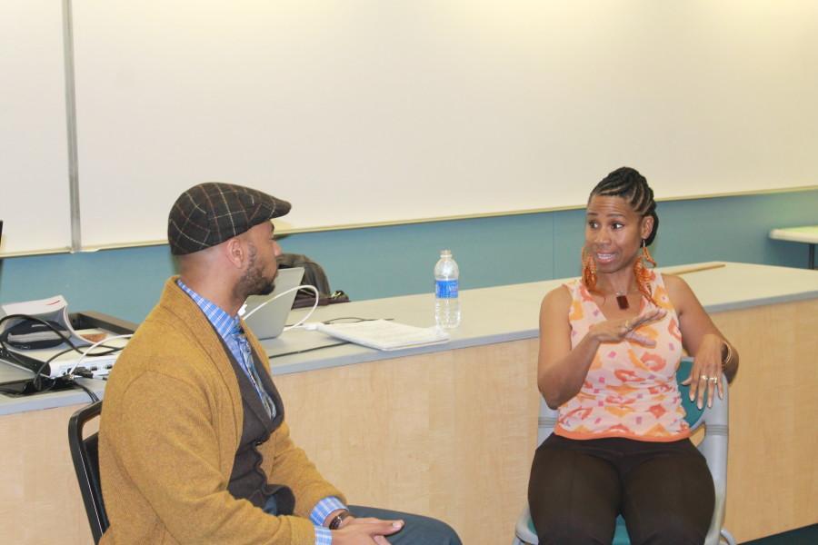Visual Artist June Edmonds was interviewed by Cerritos College professor Damon Cagnolatti. Edmonds discussed the importance of of African-American art. Photo credit: Yasmin Cortez
