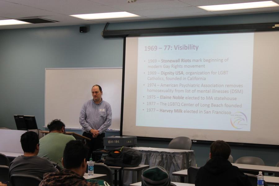 History Professor Jarrett holds a presentation on the LGBTQ History Photo credit: Michael Garcia
