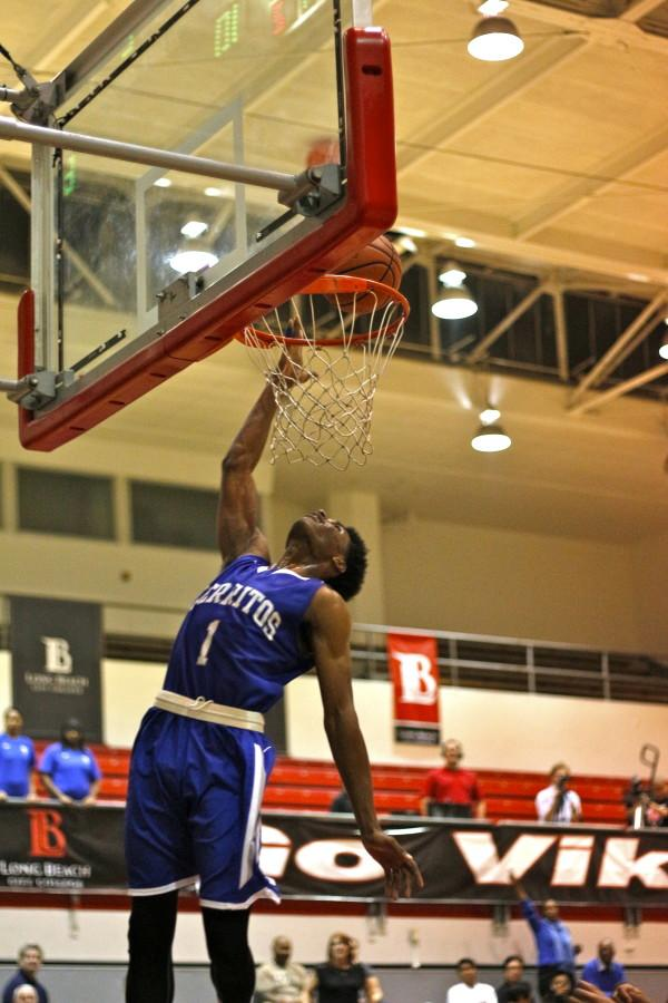 Guard Micah Winn jumps for the lay up against Long Beach City College on Wednesday, Feb. 18. Photo credit: Emily Curiel
