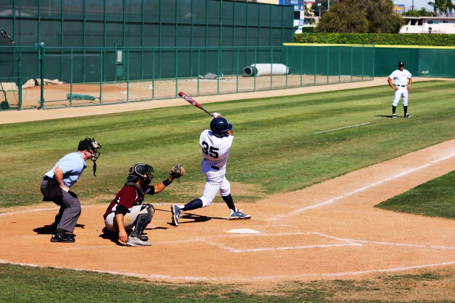 Falcons shortstop Benny Arce swings through a pitch and strikesout on March 26 against Compton College. Cerritos went on to lose 5-1. Photo credit: Mario Jimenez