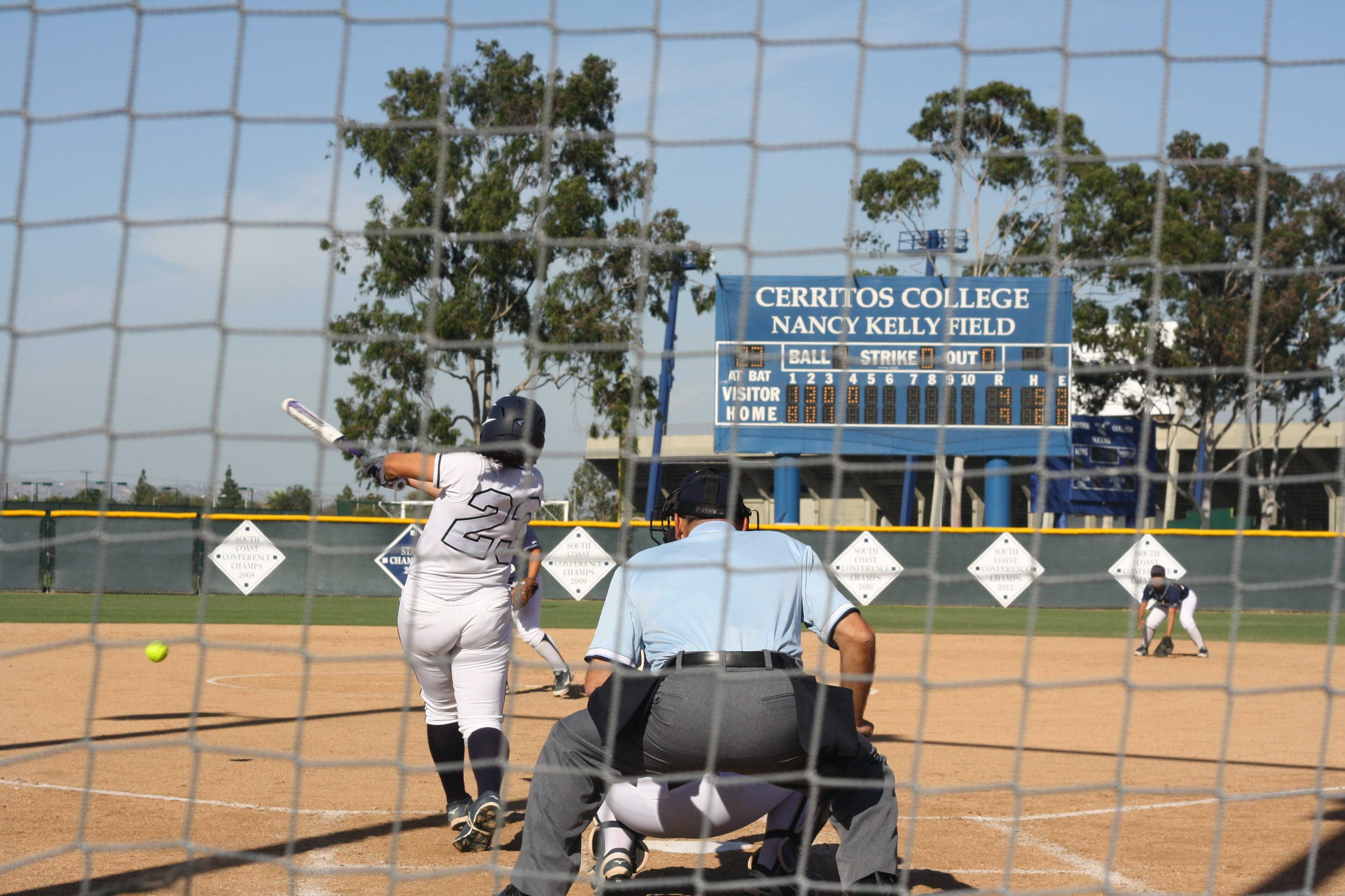 Catcher Krystal Purkey singles to left in the fourth inning. The Falcons improved their conference record to 9-3 with a 15-4 route of the LA Harbor Seahawks.