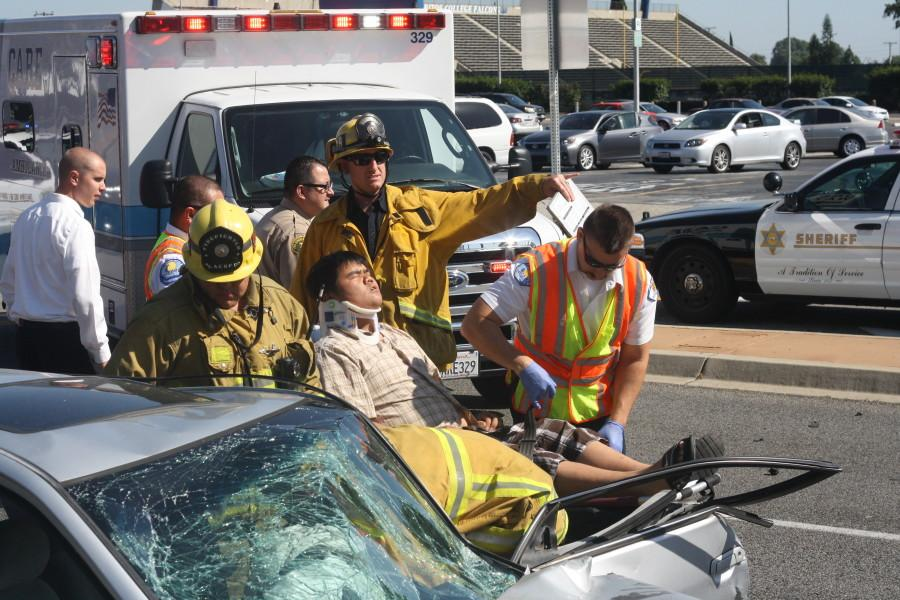 A two car collision occurred on the intersection of Gridley and Alondra adjacent to the parking lot in front of the tennis courts Monday, March 30 approximately at 3 p.m. Photo credit: Sebastian Echeverry