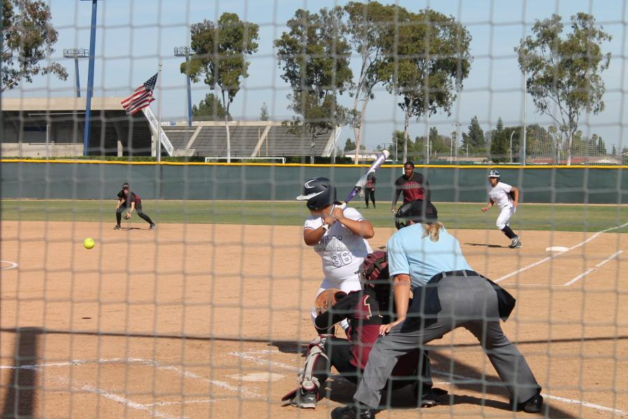 Pinch-hitter Stefani Gonzalez hit one of four Falcons home runs for the 12-3 victory. This was Cerritos' tenth mercy-win of the season. Photo credit: Monica Gallardo